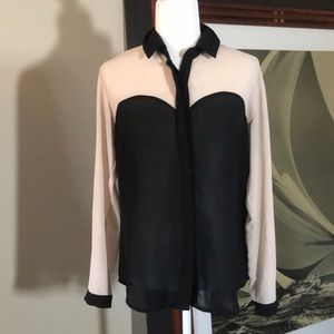 Black and Nude Button Down Blouse Size Medium